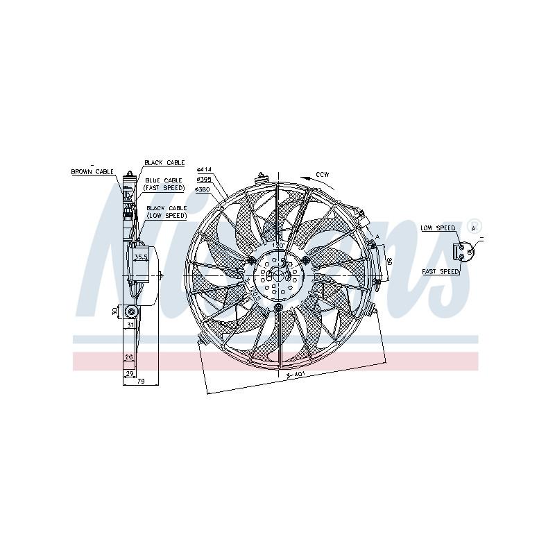 Ventilateur, condenseur de climatisation NISSENS [85648]