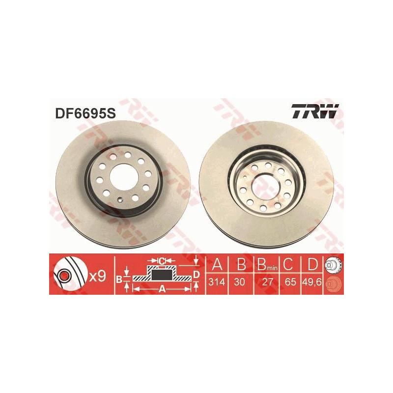 Jeu de 2 disques de frein avant TRW [DF6695S]