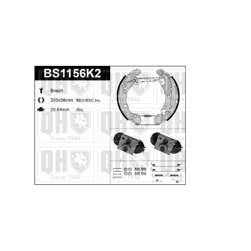 Kit de freins, freins à tambours QUINTON HAZELL [BS1156K2]