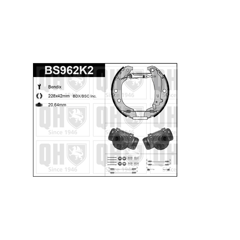 Kit de freins, freins à tambours QUINTON HAZELL [BS962K2]