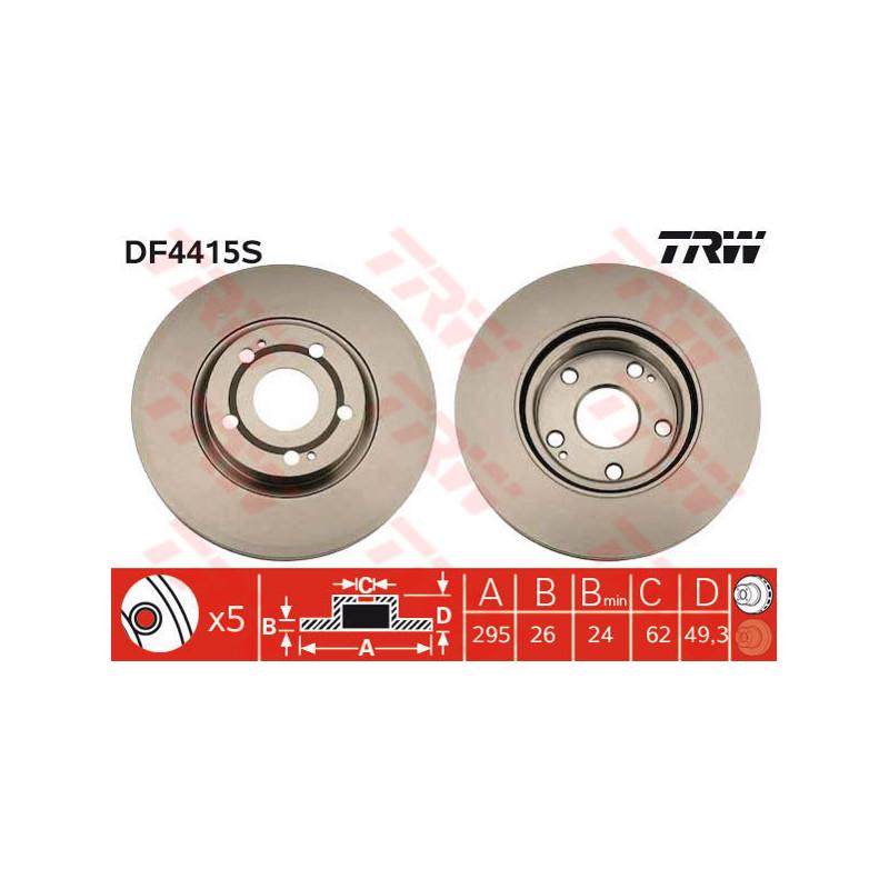 Jeu de 2 disques de frein avant TRW [DF4415S]