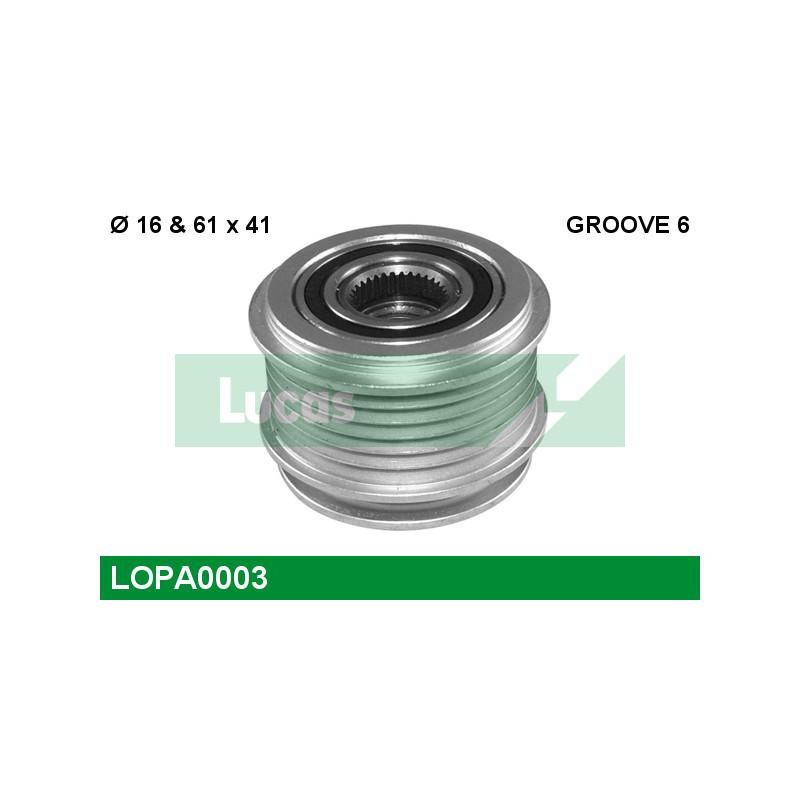 Poulie roue libre, alternateur LUCAS ENGINE DRIVE LOPA0003 pour VOLKSWAGEN GOLF 1,9 TDI - 110cv