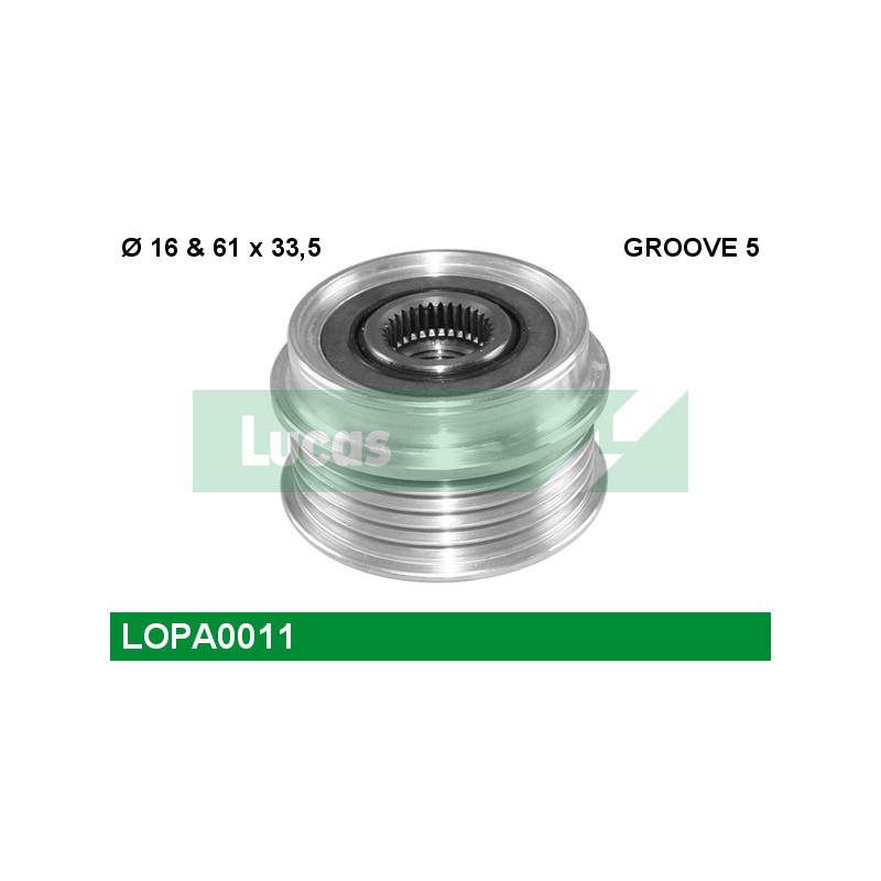 Poulie roue libre, alternateur LUCAS ENGINE DRIVE LOPA0011 pour VOLKSWAGEN GOLF 1,9 TDI - 110cv