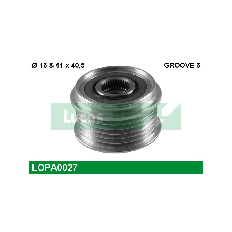 Poulie roue libre, alternateur LUCAS ENGINE DRIVE LOPA0027 pour RENAULT LAGUNA 1,9 DCI - 107cv