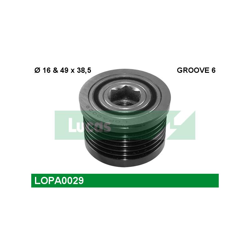 Poulie roue libre, alternateur LUCAS ENGINE DRIVE LOPA0029 pour RENAULT LAGUNA 2,0 16V Hi-Flex - 140cv