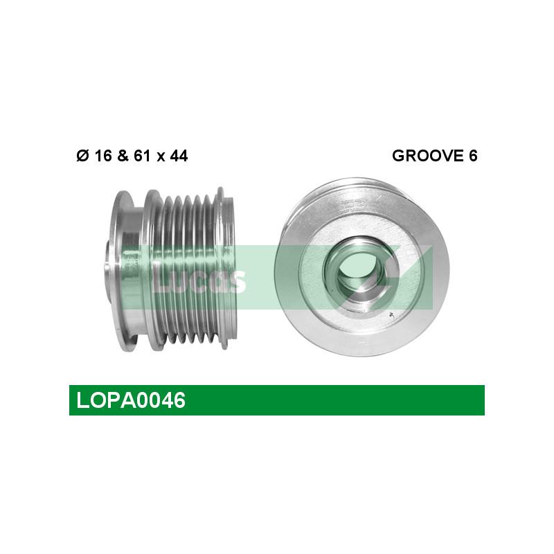 Poulie roue libre, alternateur LUCAS ENGINE DRIVE LOPA0046 pour VOLKSWAGEN GOLF 2,0 TDI 16V - 140cv