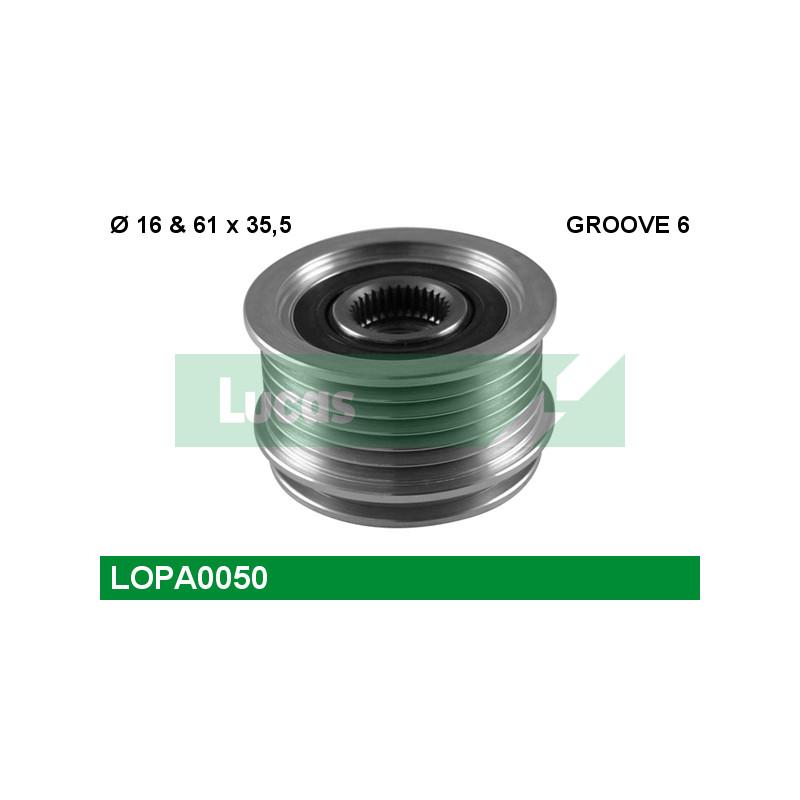 Poulie roue libre, alternateur LUCAS ENGINE DRIVE LOPA0050 pour VOLKSWAGEN GOLF 1,9 TDI - 105cv