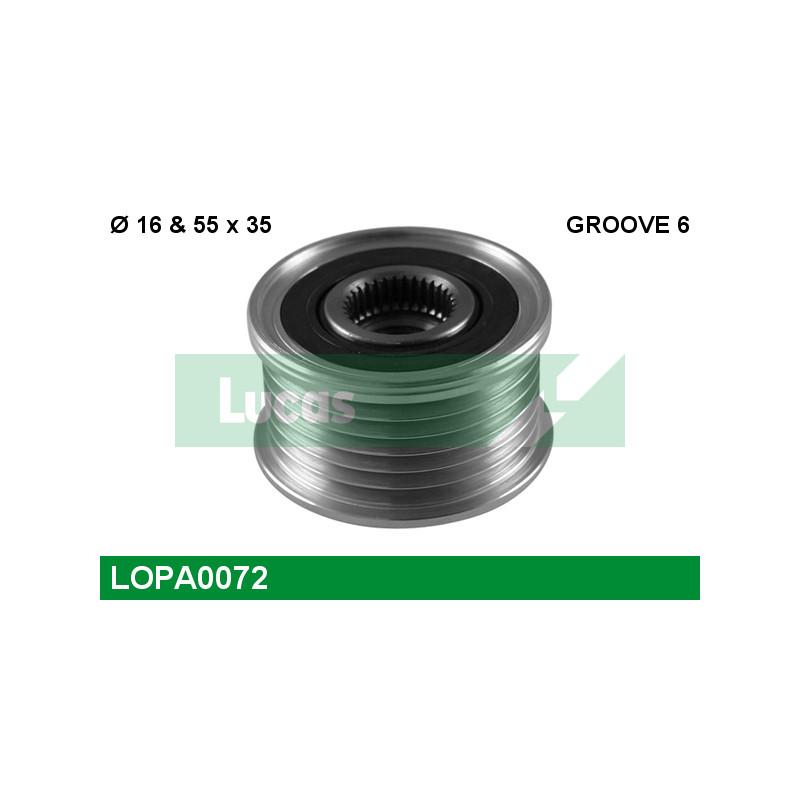 Poulie roue libre, alternateur LUCAS ENGINE DRIVE LOPA0072 pour MERCEDES-BENZ CLASSE E E 220 CDI - 170cv