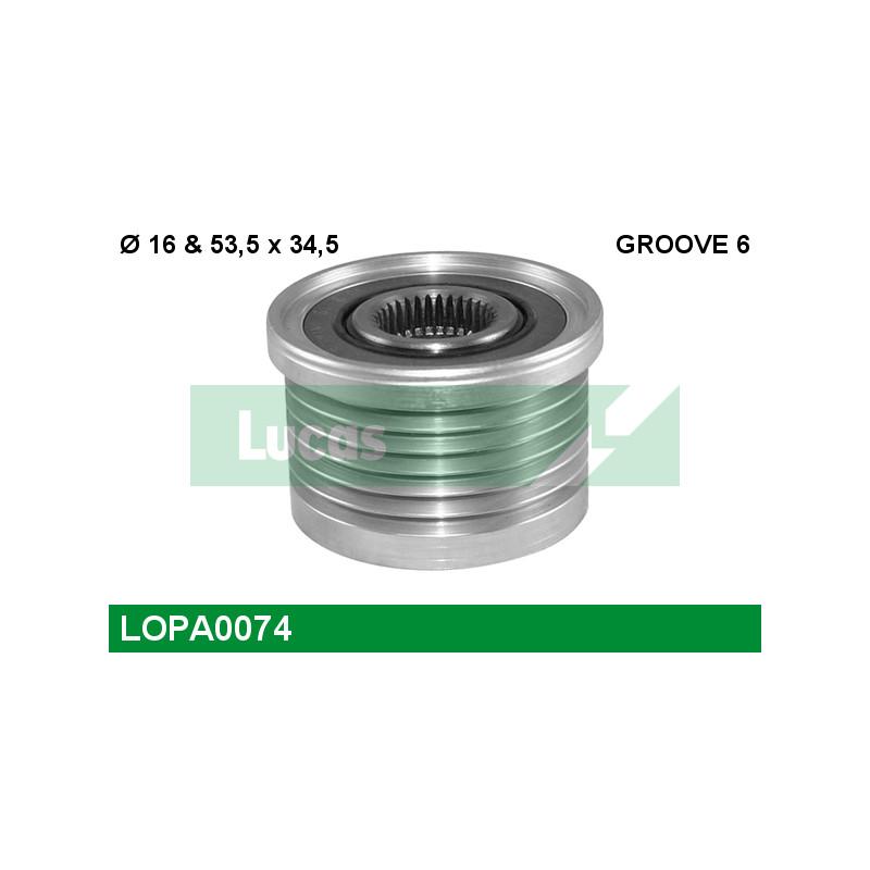 Poulie roue libre, alternateur LUCAS ENGINE DRIVE LOPA0074 pour RENAULT LAGUNA 1,9 DCI - 107cv