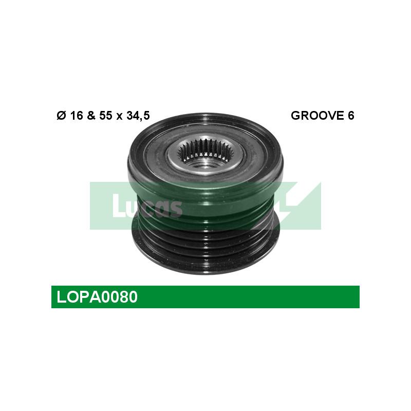 Poulie roue libre, alternateur LUCAS ENGINE DRIVE LOPA0080 pour VOLKSWAGEN TOURAN 1,4 TSI - 140cv