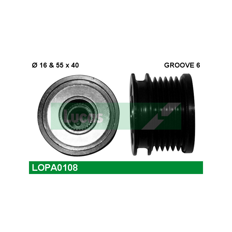 Poulie roue libre, alternateur LUCAS ENGINE DRIVE LOPA0108