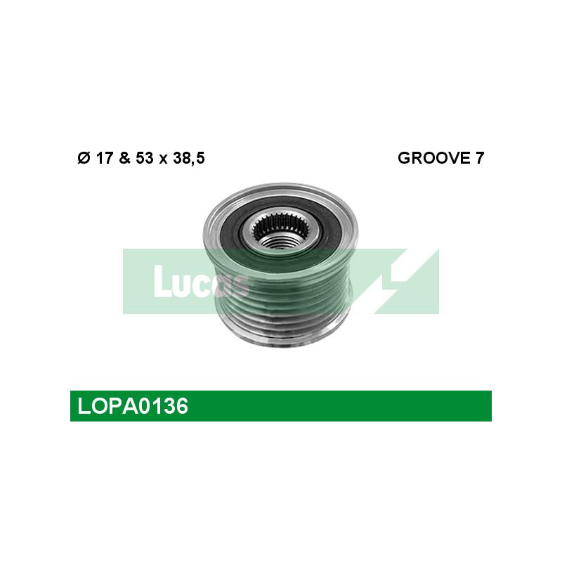 Poulie roue libre, alternateur LUCAS ENGINE DRIVE LOPA0136 pour RENAULT LAGUNA 2,0 DCI - 173cv