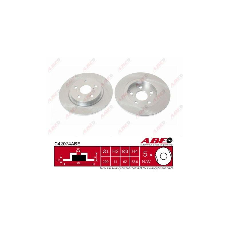Jeu de 2 disques de frein arrière ABE [C42074ABE]